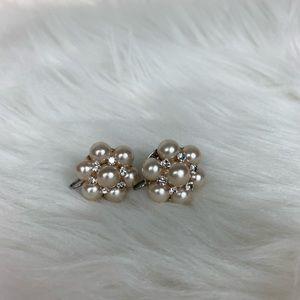 Pearl screw back earrings clip ons